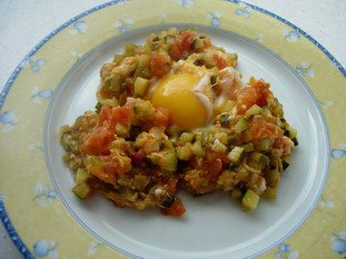 "Small ratatouille with ""broken"" egg"