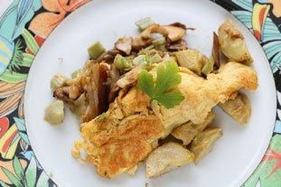 Mushroom and artichoke omelette : Photo of step #9