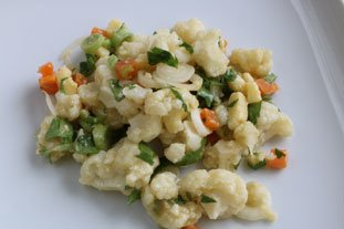 Warm cauliflower salad with two cheeses : Photo of step #26
