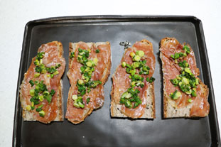 Ham and cheese slices with spring onions : Photo of step #7