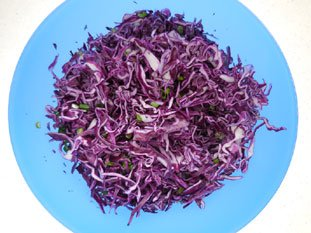 Red cabbage salad with chives : Photo of step #9