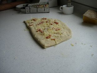 Fougasse with bacon and Comté : Photo of step #11