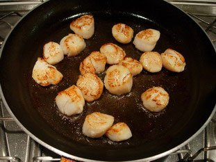 Scallops with green asparagus tips and parmesan : Photo of step #6