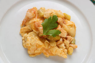 Scrambled eggs with langoustines and asparagus tips.