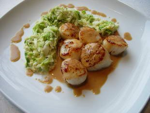 Scallops with cabbage julienne