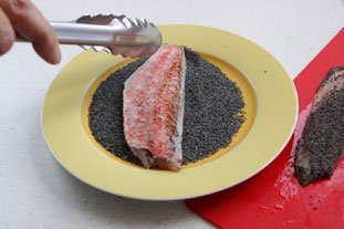 Canapés of red mullet with poppy seeds : Photo of step #8