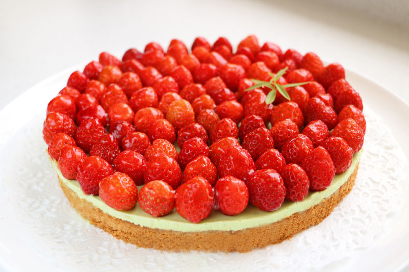 Breton strawberry and verbena tart