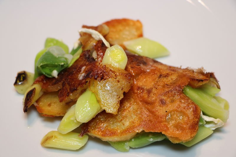 Crispy potato galette with leeks
