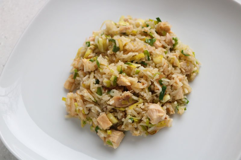 Chicken with rice and leeks