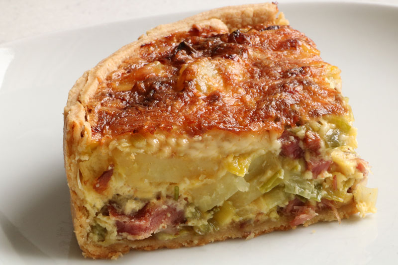 Deep leek and potato quiche