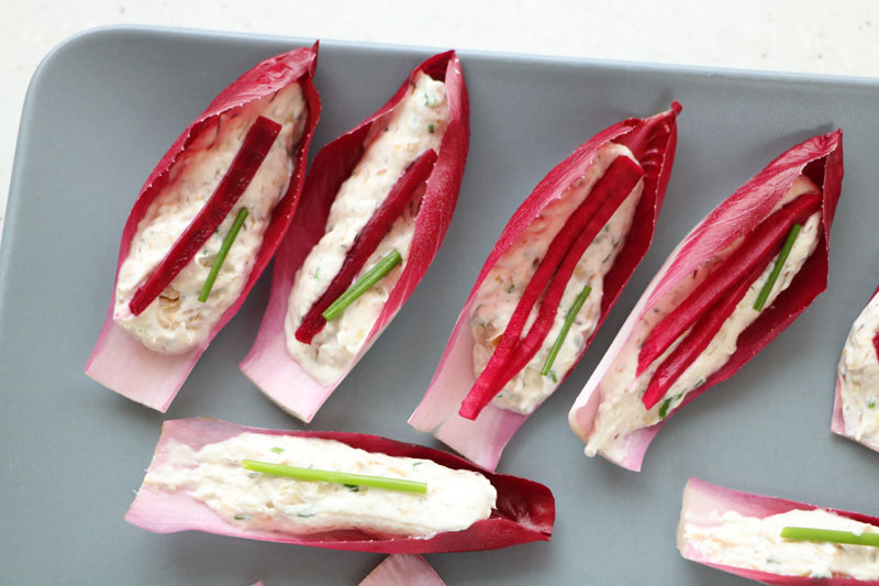 Red endive appetizers