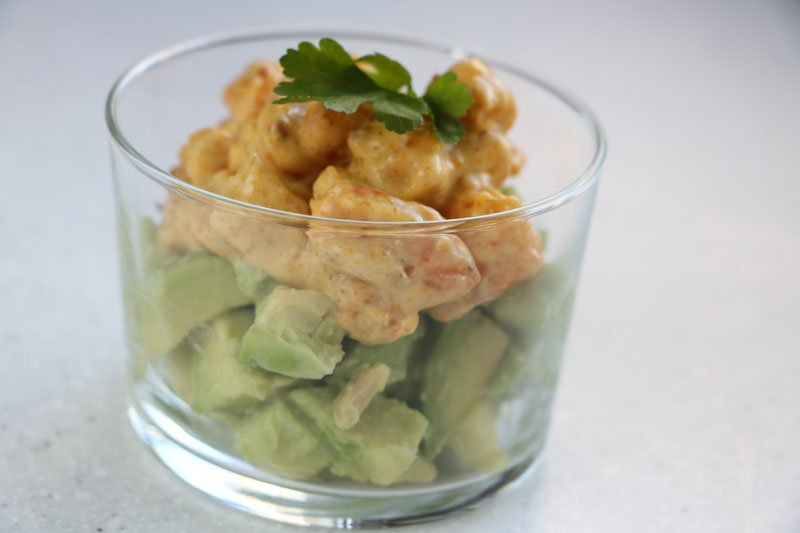 Avocado with Sautéed Prawns