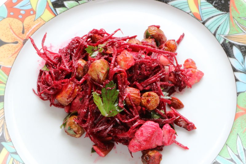Beetroot and fried chicken salad