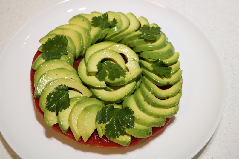 Thin tomato jelly and avocado tart