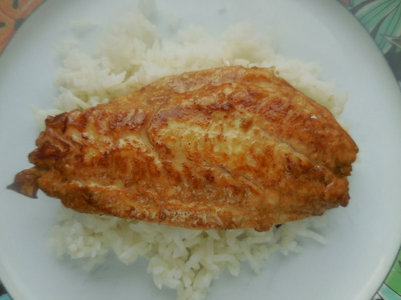 Red sea bream fillets in a soy-sauce marinade