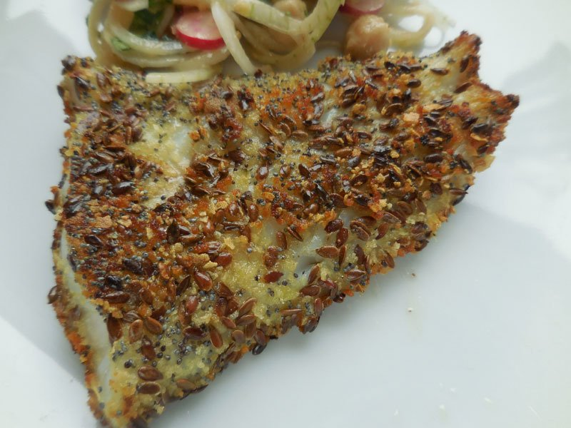 Fish in a seed crust