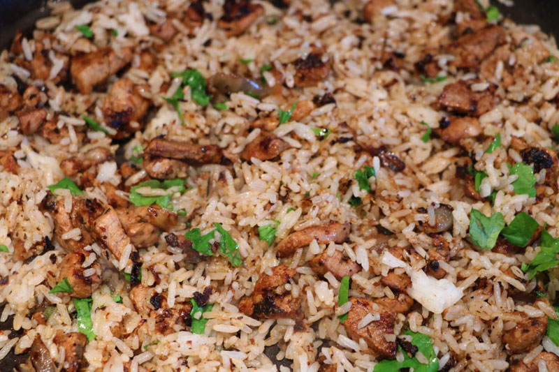 Cajun pork with rice.