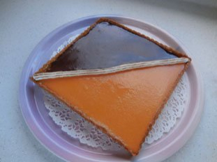 Two-coloured chocolate-orange tart