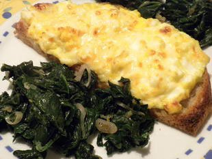 Gratin slices with spinach
