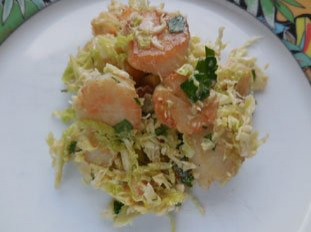 Warm scallop and cabbage salad