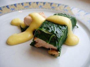 Salmon chard rolls